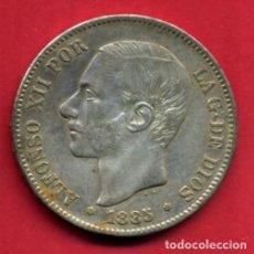 Monedas de España: MONEDA 5 PESETAS ALFONSO XII , 1885 , ESTRELLAS VISIBLES 18 87 , DURO PLATA , MBC+ , ORIGINAL, D2433. Lote 92133315