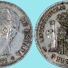 Monedas de España: MONEDA 5 PESETAS AMADEO I - 1871 *18*75. REV. DEM.CONSERVACIÓN MBC+/ EBC- VISIBLE ESTRELLAS. PLATA. Lote 94427610