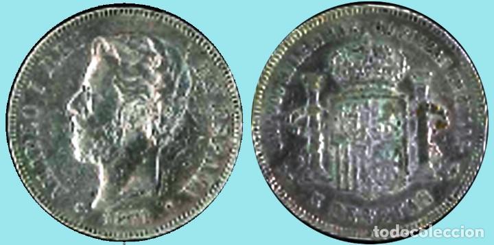 Moneda 5 PESETAS AMADEO I - 1871 *18 *74. Rev. DEM.Conservación MBC+ Visible ESTRELLAS y PLUS. PLATA segunda mano