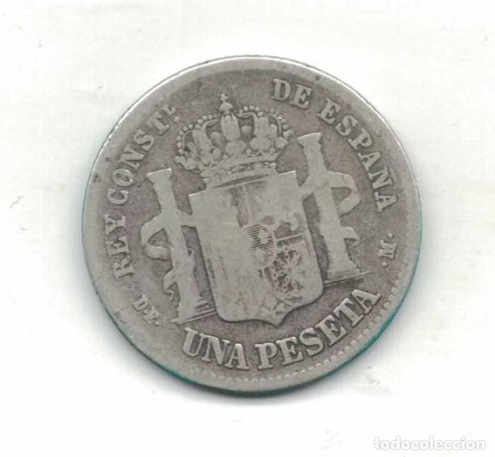 Monedas de España: Alfonso XII 1 Ptas 1876 M58 RR - Foto 2 - 94674491