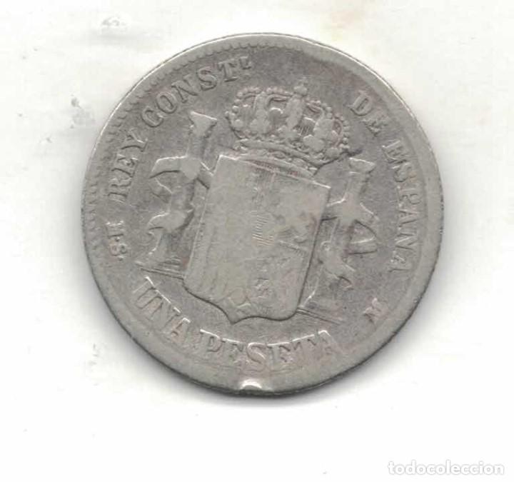Monedas de España: Alfonso XII 1 Ptas 1885 M59 - Foto 2 - 94674955