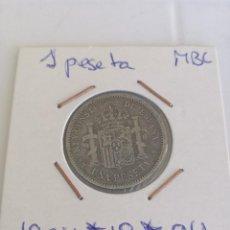 Monedas de España: EDUNAVA 1 PESETA 1904*19*04 SMV PLATA BONITA MBC ALFONSO XIII . Lote 95436215
