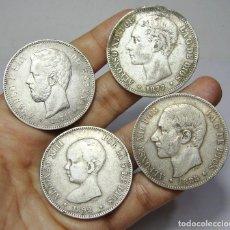 Monedas de España: LOTE DE MONEDAS DE 5 PESETAS. TODAS DE PLATA. ALFONSO XII, XIII Y AMADEO.. Lote 97079539