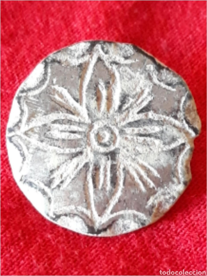 BOTON MEDIEVAL PELTRE BAÑO DE PLATA FLOR DE LOTO (Numismática - España Modernas y Contemporáneas - De Reyes Católicos (1.474) a Fernando VII (1.833))