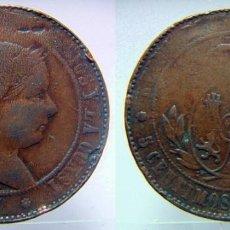 Monedas de España: 5 CENTIMOS DE ESCUDO ISABEL II CECA BARCELONA 1867. Lote 97975767