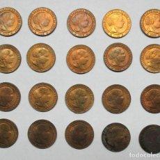 Monedas de España: ISABEL II, 1868. 20 MONEDAS DE 1 CENTIMO DE ESCUDO, CECA DE BARCELONA, EXTRAORDINARIAS. LOTE 0638. Lote 98351055
