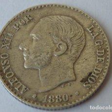 Monedas de España: MONEDA DE PLATA DE 50 CENTIMOS ALFONSO XII DE 1880 ESTRELLAS VISIBLES 8 0 MS M, PATINA MONETARIA. Lote 98979547