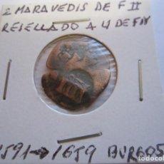 Monedas de España: MONEDA DE 2 MARAVEDIES DE FELIPE II 1591 RESELLADO A 4 MARAVEDIES PARA FELIPE IV 1659 (BURGOS). Lote 99111395