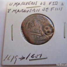 Monedas de España: MONEDA DE 4 MARAVEDIES DE FELIPE III 1619 RESELLADO PARA 8 M. DE FELIPE IV 1651 (BURGOS). Lote 99111799