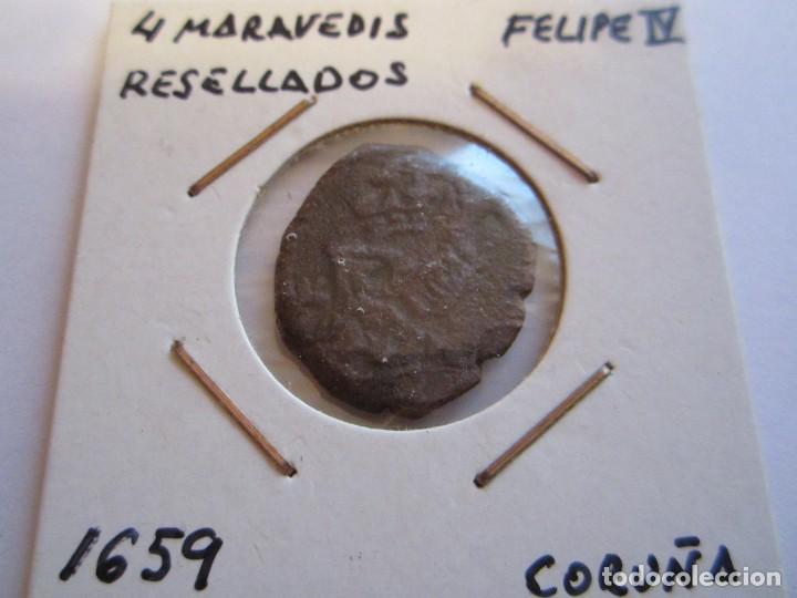 MONEDA DE 4 MARAVEDIES DE FELIPE IV (CORUÑA) RESELLADO 1659 (Numismática - España Modernas y Contemporáneas - De Reyes Católicos (1.474) a Fernando VII (1.833))