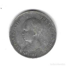 Monedas de España: MONEDA. ALFONSO XIII. 1 PESETA. 1891. ESTRELLA VISIBLE. Lote 99328795
