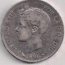 Monedas de España: ESPAÑA - ALFONSO XIII - 5 PESETAS 1896 PG V *18-96 ESTRELLAS LEGIBLES. Lote 100177143