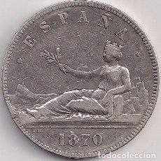 Monedas de España: ESPAÑA - GOBIERNO PROVISIONAL - 5 PESETAS 1870 SN M *18-70 ESTRELLAS LEGIBLES. Lote 100251771