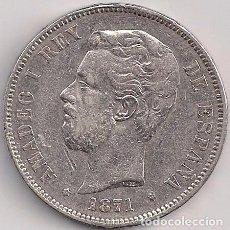 Monedas de España: ESPAÑA - AMADEO I - 5 PESETAS 1871 SD M *18-71 ESTRELLAS LEGIBLES. Lote 100252015