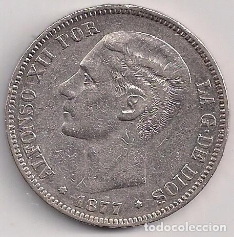 ESPAÑA - ALFONSO XII - 5 PESETAS 1877 DE M *18-77 - ESTRELLA 77 MUY FLOJA (Numismática - España Modernas y Contemporáneas - De Isabel II (1.834) a Alfonso XIII (1.931))