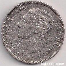 Monedas de España: ESPAÑA - ALFONSO XII - 5 PESETAS 1877 DE M *18-77 - ESTRELLA 77 MUY FLOJA. Lote 100252939