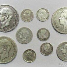 Monedas de España: CONJUNTO DE DIEZ MONEDAS ESPAÑOLAS ANTIGUAS EN PLATA. LOTE 0666. Lote 100308839