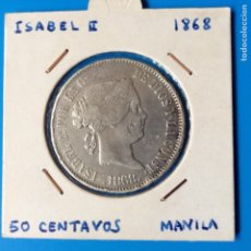 Monedas de España: ISABEL II 50 CENTAVOS DE PESO PLATA 1868 MANILA. Lote 102412554