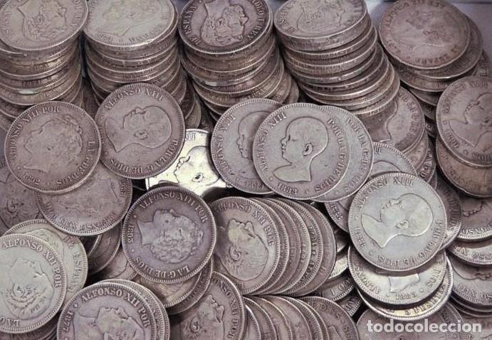 LOTE DE 25 MONEDAS DE 5 PESETAS. PLATA! INVERSIÓN DUROS (Numismática - España Modernas y Contemporáneas - De Isabel II (1.834) a Alfonso XIII (1.931))