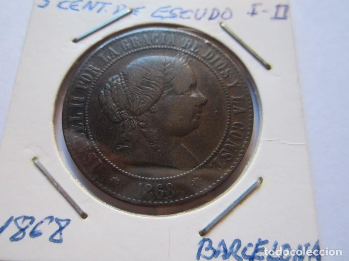 MONEDA DE 5 CÉNTIMOS DE ESCUDO DE ISABEL II 1868 BARCELONA EBC (Numismática - España Modernas y Contemporáneas - De Isabel II (1.834) a Alfonso XIII (1.931))