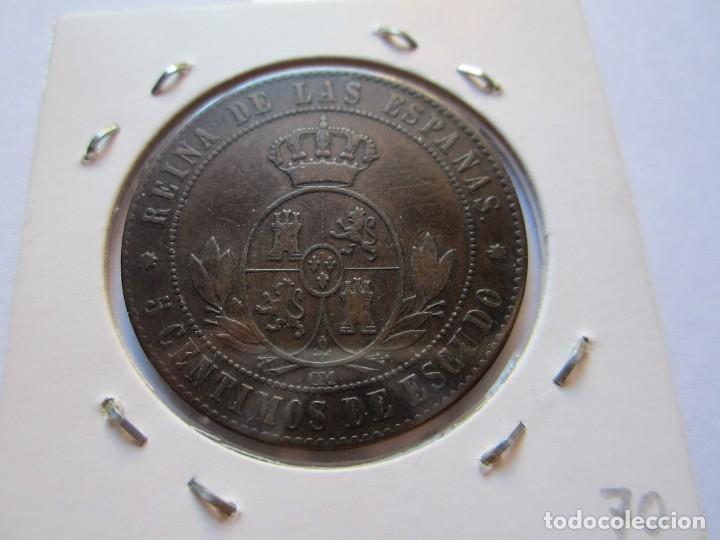 Monedas de España: moneda de 5 céntimos de escudo de Isabel II 1868 Barcelona EBC - Foto 2 - 102735739