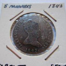 Monedas de España: MONEDA DE 8 MARAVEDÍES DE ISABEL II 1843 SEGOVIA MBC+. Lote 102736315