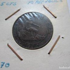 Monedas de España: MONEDA DE 5 CÉNTIMOS DE LA 1ª REPÚBLICA 1870 MBC+. Lote 102745239