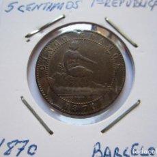 Monedas de España: MONEDA DE 5 CÉNTIMOS DE LA 1ª REPÚBLICA 1870 MBC+. Lote 102745355