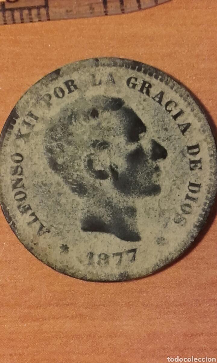 Monedas de España: MONEDA 1159 - ESPAÑA 5 céntimos 1877 Barcelona - Rey de España Alfonso XII - Foto 2 - 102844475