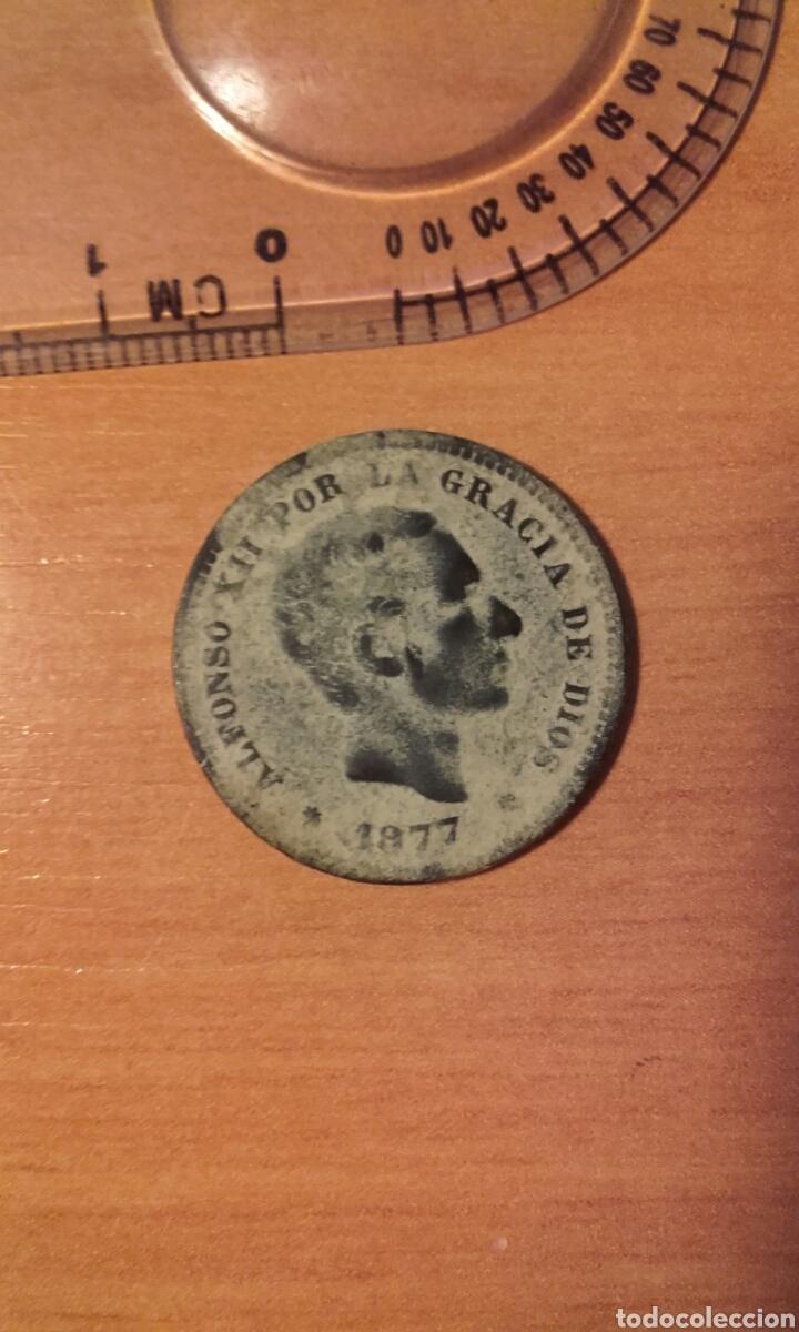 Monedas de España: MONEDA 1159 - ESPAÑA 5 céntimos 1877 Barcelona - Rey de España Alfonso XII - Foto 3 - 102844475