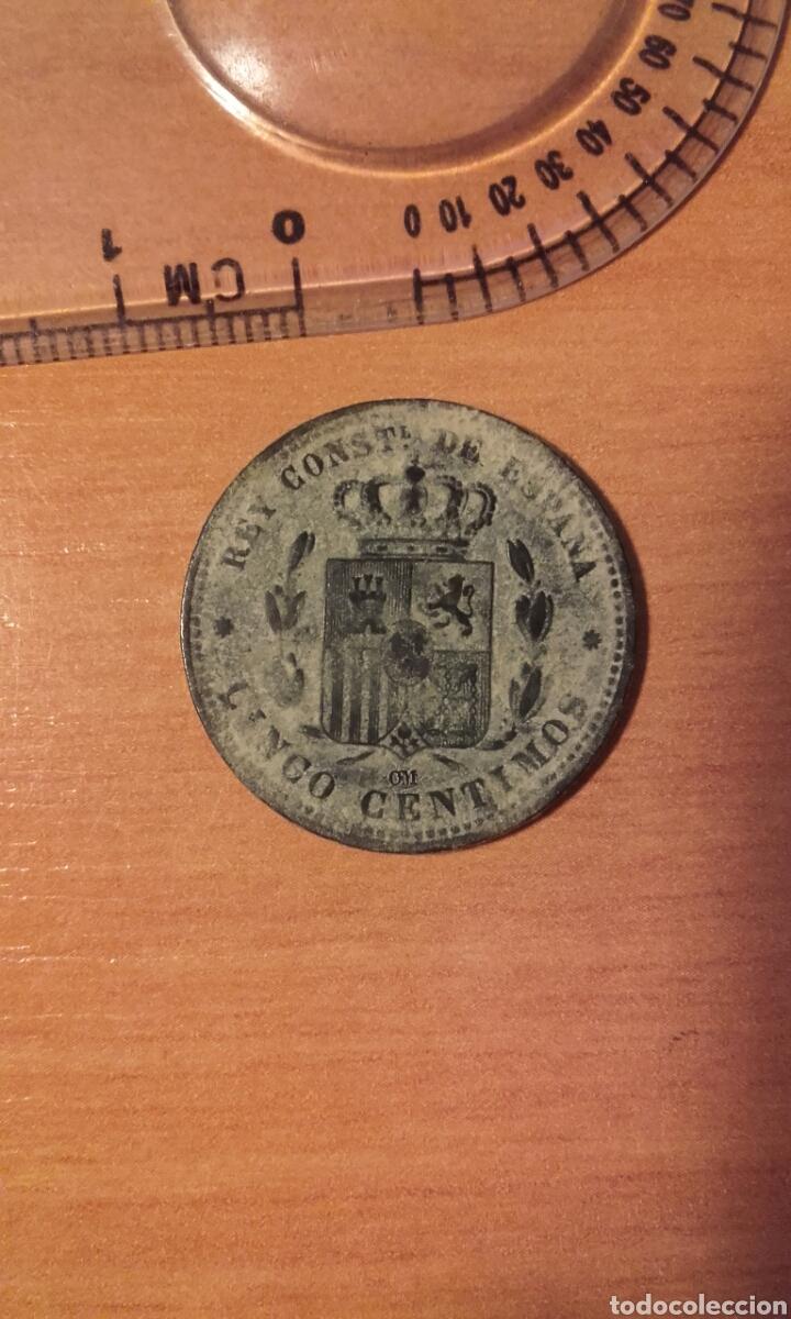 Monedas de España: MONEDA 1159 - ESPAÑA 5 céntimos 1877 Barcelona - Rey de España Alfonso XII - Foto 5 - 102844475