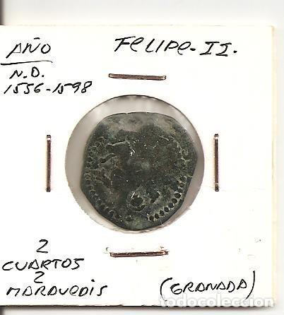 RARA MONEDA FELIPE II 1556-1598 CECA (GRANADA) 2 CUARTOS 2 MARAVEDÍS (COBRE). MBC (Numismática - España Modernas y Contemporáneas - De Reyes Católicos (1.474) a Fernando VII (1.833))