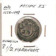 Monedas de España: RARA MONEDA FELIPE II 1556-1598 CECA (POR DEFINIR) CUARTILLO-8 1/ 2 MARAVEDÍS (VELLÓN). MBC. Lote 103321079