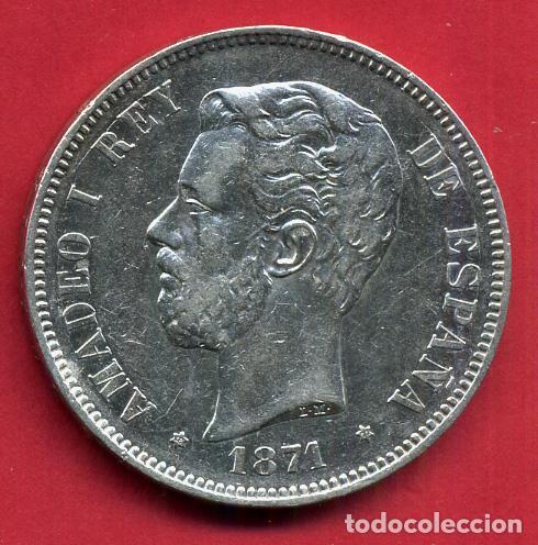 MONEDA 5 PESETAS AMADEO I , 1871 , ESTRELLAS VISIBLES 18 71 , DURO PLATA , EBC- , ORIGINAL, D2471 (Numismática - España Modernas y Contemporáneas - De Isabel II (1.834) a Alfonso XIII (1.931))