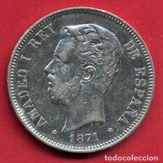 Monedas de España: MONEDA 5 PESETAS AMADEO I , 1871 , ESTRELLAS VISIBLES 18 71 , DURO PLATA , EBC- , ORIGINAL, D2471. Lote 104004127