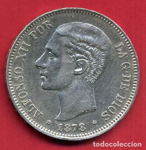 MONEDA 5 PESETAS ALFONSO XII , 1878 , ESTRELLAS VISIBLES 18 78 , DURO PLATA , EBC- , ORIGINAL, D2474 (Numismática - España Modernas y Contemporáneas - De Isabel II (1.834) a Alfonso XIII (1.931))
