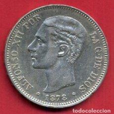 Monedas de España: MONEDA 5 PESETAS ALFONSO XII , 1878 , ESTRELLAS VISIBLES 18 78 , DURO PLATA , EBC- , ORIGINAL, D2474. Lote 104004383