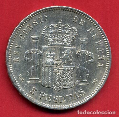 Monedas de España: MONEDA 5 PESETAS ALFONSO XII , 1878 , ESTRELLAS VISIBLES 18 78 , DURO PLATA , EBC- , ORIGINAL, D2474 - Foto 2 - 104004383