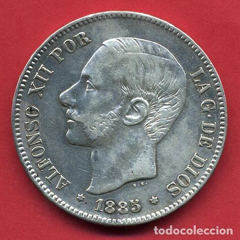 MONEDA 5 PESETAS ALFONSO XII , 1885 , ESTRELLAS VISIBLES 18 87 , DURO PLATA , EBC- , ORIGINAL, D2477 (Numismática - España Modernas y Contemporáneas - De Isabel II (1.834) a Alfonso XIII (1.931))