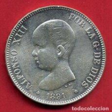 Monedas de España: MONEDA 5 PESETAS ALFONSO XIII , 1891 ,ESTRELLAS VISIBLES 18 91 , DURO PLATA , EBC , ORIGINAL, D2481. Lote 104005327