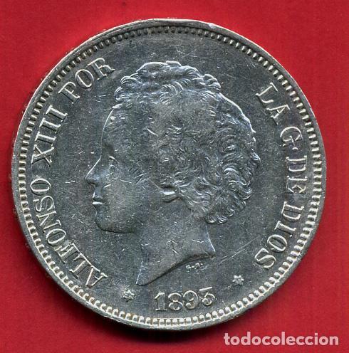 MONEDA 5 PESETAS ALFONSO XIII , 1893 ,ESTRELLAS VISIBLES 18 93 , DURO PLATA , EBC- , ORIGINAL, D2483 (Numismática - España Modernas y Contemporáneas - De Isabel II (1.834) a Alfonso XIII (1.931))