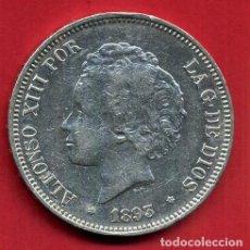 Monedas de España: MONEDA 5 PESETAS ALFONSO XIII , 1893 ,ESTRELLAS VISIBLES 18 93 , DURO PLATA , EBC- , ORIGINAL, D2483. Lote 104005423