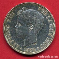 Monedas de España: MONEDA 5 PESETAS ALFONSO XIII, 1898 ,ESTRELLAS VISIBLES 18 98 ,DURO PLATA , EBC SC ,ORIGINAL, D2487. Lote 104005619