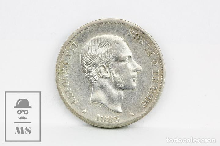Monedas de España: Moneda Alfonso XII Filipinas Manila 1885 - 50 Céntimos De Peso Plata - Conservación EBC - Foto 2 - 104371531