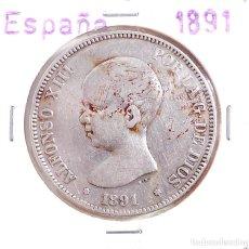 Monedas de España: ALFONSO XIII 1891 * 91 - 5 PESETAS DE PLATA PGM. Lote 104509459
