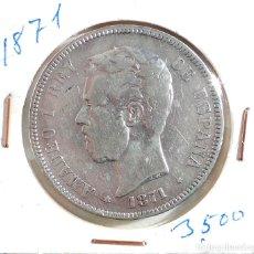 Monedas de España: AMADEO I - 5 PESETAS - 1871 *18 -*71 - S.D.M. PLATA. Lote 104519983