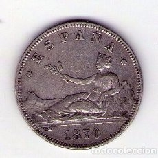 Monedas de España: ?MONEDA DE PLATA DE 1870?2 PESETAS ESTRELLAS VISIBLES *18*75 . Lote 112270808