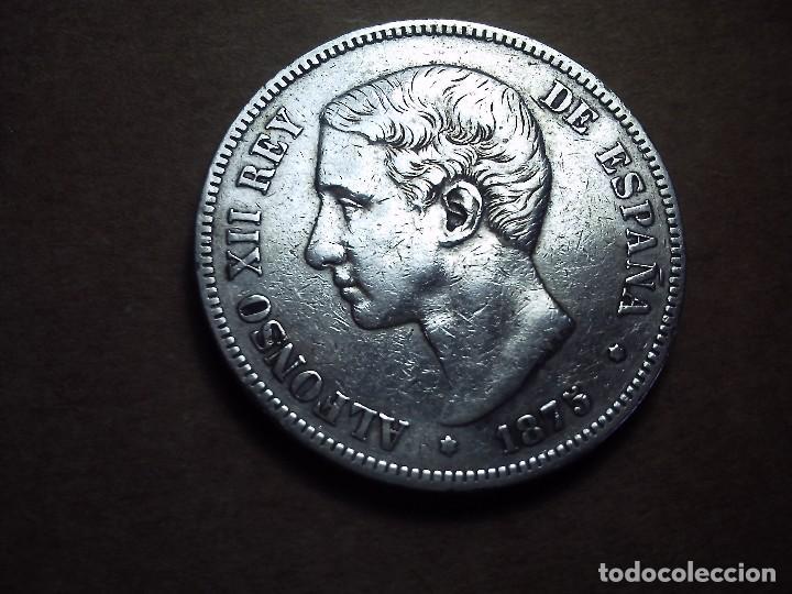BONITA PIEZA DE 5 PESETAS PLATA DE ALFONSO XII. 1875. E. 75. EBC. (Numismática - España Modernas y Contemporáneas - De Isabel II (1.834) a Alfonso XIII (1.931))
