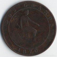 Monedas de España: 2 CÉNTIMOS DEL AÑO 1870 GOBIERNO PROVISIONAL ESPAÑA - PESO 1,97 GRAMOS (EBC-).. Lote 107475923