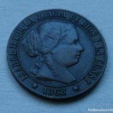 Monedas de España: MONEDA DE 1 CENTIMO DE ESCUDO DE ISABEL II AÑO 1868 CECA DE BARCELONA SIN CIRCULAR. Lote 107688219